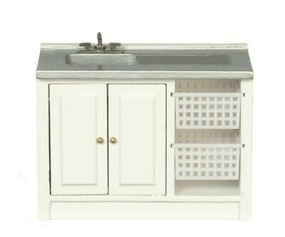 Dolls House Laundry Sink Unit with Baskets Miniature 1:12 Kitchen Furniture