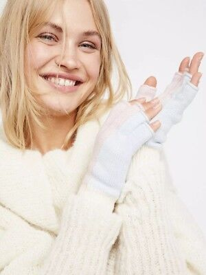 NWT Free People Holland Color Block Fingerless Gloves Pink / Blue