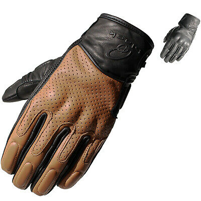Black Freedom Leather Motorcycle Gloves Motorbike Short Vented Sports Race Bike