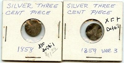 1858 & 1859 3 Cent Silver W/ Damage W/ Xf Detail Better Dates!!!..starts@ 2.99