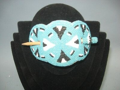 Beaded Native American large hair clip barrett,leather backed with wood stick