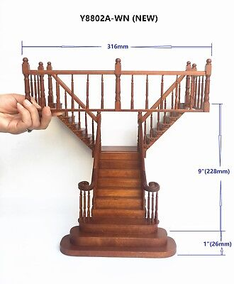 "Y Staircase 1:12 Scale Miniature Wooden dollhouse stair WN with rails for 9""-10"""