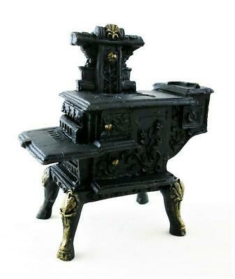 Dolls House Black Resin Wood Stove  Miniature Old Fashioned Kitchen Furniture