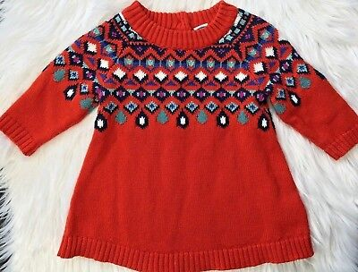 Old Navy Baby Girls 0-3 Months Red Orange Fair Isle Sweater Holiday Dress 8103191b4