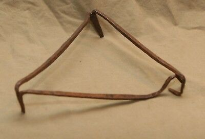 Primitive Antique Hand Wrought Iron Triangle Form Hearthware Trivet 8.5""