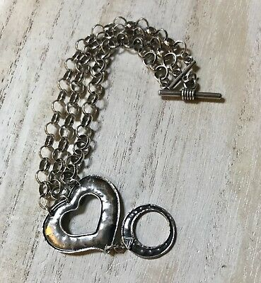 SILPADA Sterling Silver Oxidized HAMMERED HEART TOGGLE CLASP BRACELET B1510 EUC