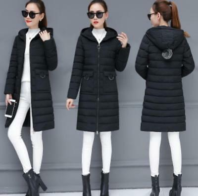 Winter Long Womens Thick Cotton Down Parka Coat Girls Solid Hooded Jacket Lit01
