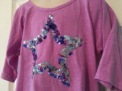 Justice Girls Size 7 Lavender Top With Sequin Star On Front.