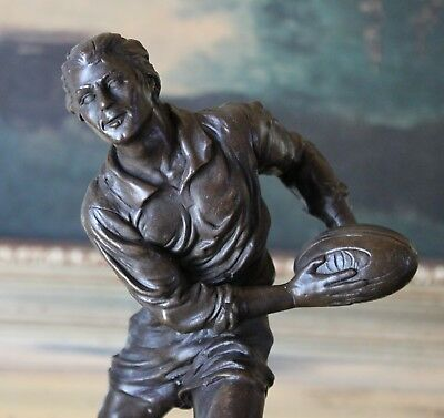College Coach Gift Rugby Football Player Athlete Bronze Marble Statue Award Art