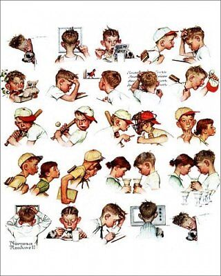 Poster Card Norman Rockwell A Day in the Life of a Boy 20 x 25cm
