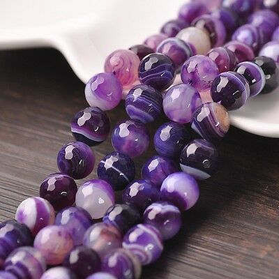 30pcs 8mm Natural Purple Faceted Agate Stone Gemstone Loose Spacer Beads