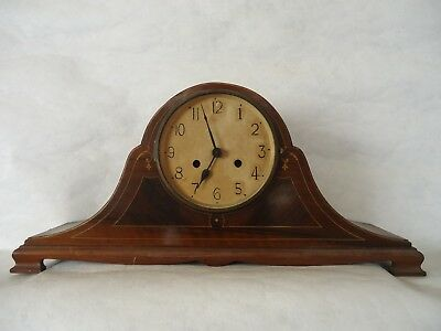 Antique Edwardian Napoleon Inlaid Chiming Mantle Clock. Spares Or Repair