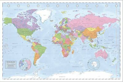 Poster Miller Projection Political World Map 91.5 x 61cm