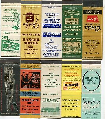 50 Route 66 Matchcovers - Many Different Route 66 Cities & States