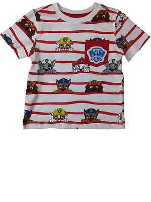 Infant Toddler Boy Paw Patrol Red White Stripe Sky Marshall Rubble Chase T-Shirt
