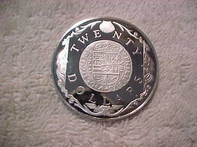 British Virgin Islands 1985 $20 Proof - Km # 52 'gold Doubloon 1702' .925 Silver