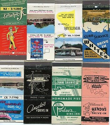 50 Drive-In Restaurant Matchcovers - Classic American Drive-Ins