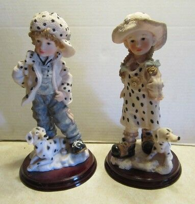 "Pair of 12""  Resin Little Girl & Boy with Dalmatian Puppies Dogs 2 Figurines F69"