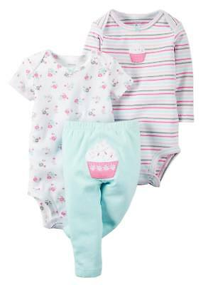 12a694a84 Carters Infant Girls Cupcake Baby Outfit 3pc Floral Stripe Bodysuit & Pants
