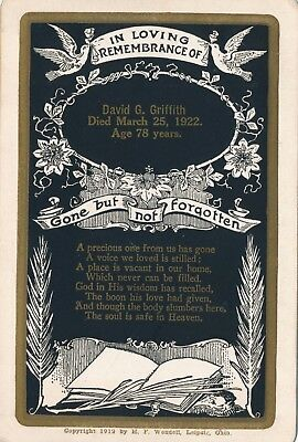 March 25, 1922 David G. Griffith Funeral Remembrance Card, Leipsic, Ohio