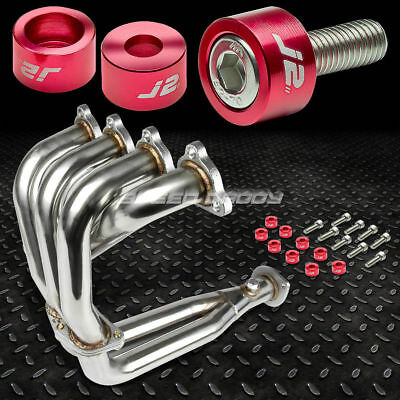J2 For Civic D15/d16 Exhaust 4-2-1 Header +Gun Metal Washer Cup Bolts