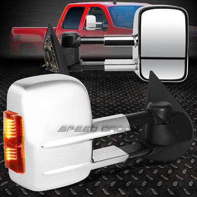 For 97-04 Ford F150/f250 Chrome Power+Led Signal Lamp Towing Side Mirror Pair