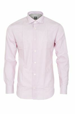 Eleventy Shirt Men's 39 Rosa  Cotton  Slim Fit Striped