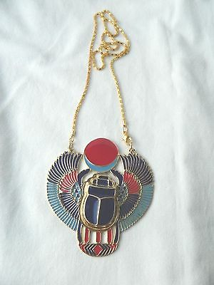 """X-Large Egyptian Metal Gold Plated Multi-Color Horus Scarab Bettle Necklace 3X3"""""""