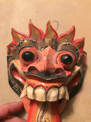 """VINTAGE WOODEN CARVED BALINESE WALL MASK 7"""" (18cm) Tall * Good Condition"""