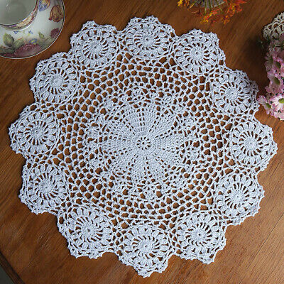 Vintage Floral Hand Crochet Cotton Lace Doily Round Flower Table Placemat Mat