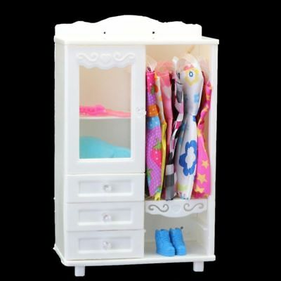 Luxury Wardrobe Closet Barbie Doll Accessories Furniture Girls Gift White
