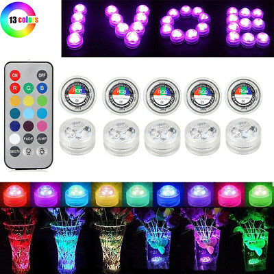 10PC LED Submersible Light Tea Lights Candles Multi Color Party Vase Lamp Remote