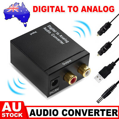 AU Digital Optical Coax Coaxial Toslink to Analog Audio Converter Cable RCA