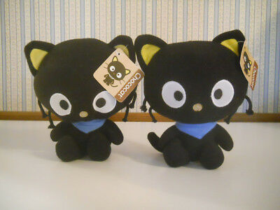 """New with tags 2 plush black 7"""" CHOCOCATS with blue bandannas Sanrio Fiesta    A5"""