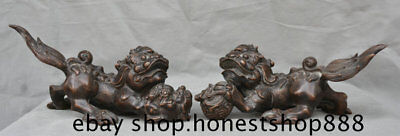 "11"" Old China Purple Bronze Feng Shui Foo Fu Dog Guardion Lion Lucky Statue Pair"