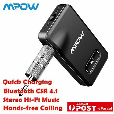 Mpow Wireless Bluetooth Receiver AUX Adapter 3.5mm Stereo Hi-Fi Music Player AU