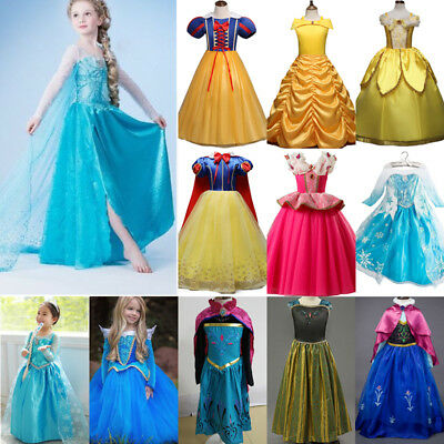 Girls Snow Queen ELSA Clothes Princess Aurora Belle Costume Birthday Party Dress