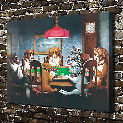 Dog Playing Poker Poster Painting Home Decor Wall Art HD Canvas Print Picture
