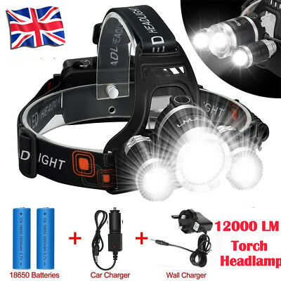 12000 LM Lumens 3 x XML CREE T6 LED Rechargeable Head Torch Headlamp Lights Lamp