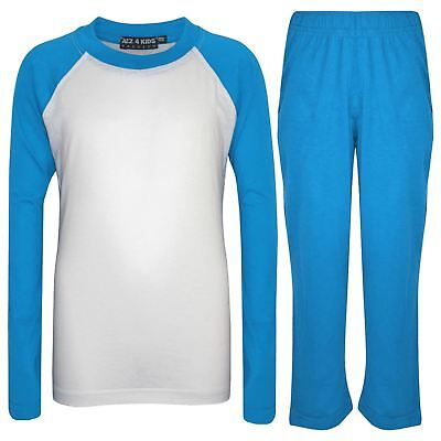 Kids Girls Boys Pyjamas Designer Plain Blue Contrast Sleeves Nightwear PJS 2-13Y