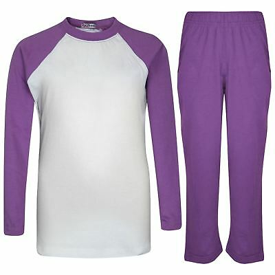Kids Girls Boys Pyjamas Designer Plain Lilac Contrast Sleeves Nightwear PJS 2-13