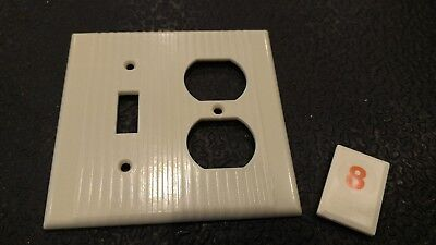 1 Ivory Vtg Ribbed Deco 2 Gang  Outlet Switch Combination Cover Plate - O8