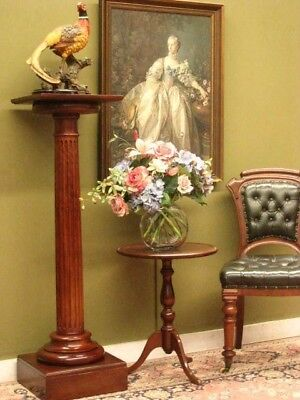 LARGE MAHOGANY PEDESTAL / DISPLAY or PLANT STAND ~ FLUTED DETAIL, VERY STURDY