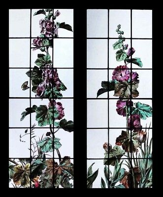 Rare Stunning Painted French Hollyhocks Pair Antique Stained Glass Windows