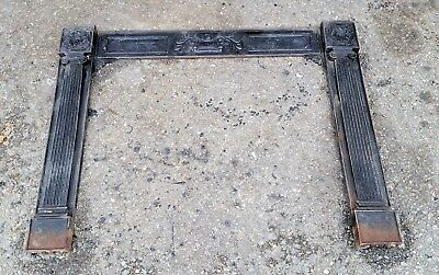 """Antique ca 1870 Fancy 3 pc. Cast Iron Fireplace Front 39"""" wide by 34"""" tall"""