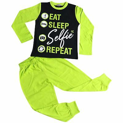 Kids Girls Pyjamas Designer Eat Sleep Selfie Repeat Lime Lounge Wear PJS 2-13 Yr
