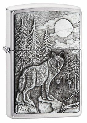 Zippo Timberwolves Emblem Lighter - Brushed Chrome