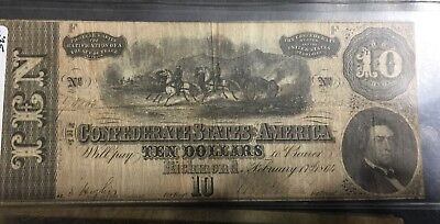 Confederate States Of America $10 Currency From Richmond Virginia In Hard Sleeve