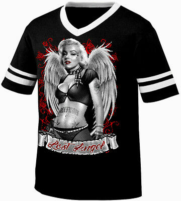 Marilyn Lost Angel Tatted Wings Tattooed Babe Sexy Retro Ringer T-shirt