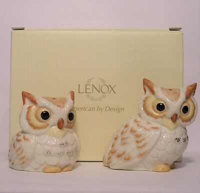 Lenox Wise Owl Salt And Pepper Shaker Set #833545 New-Old-Stock In Box Figural